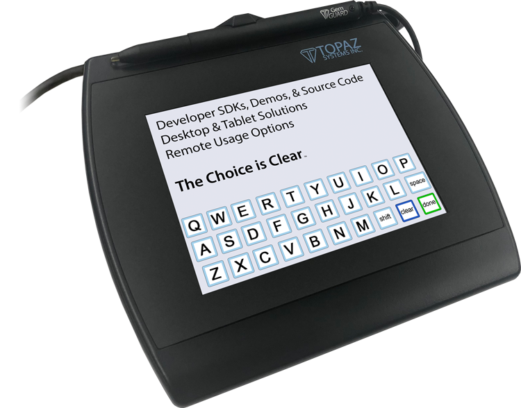 Topaz SigPlusLCD Electronic Signature Software - SigGem Color 5.7 Keyboard