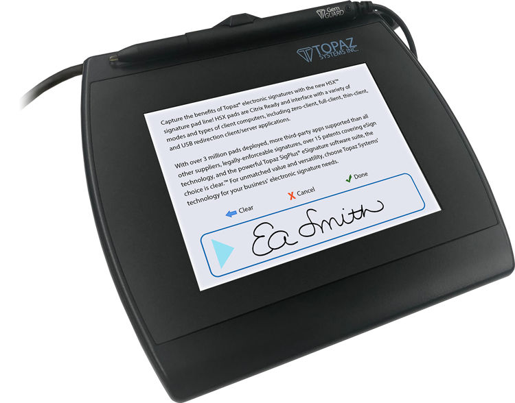 Topaz SigPlusLCD Electronic Signature Software - SigGem Color 5.7 Signature