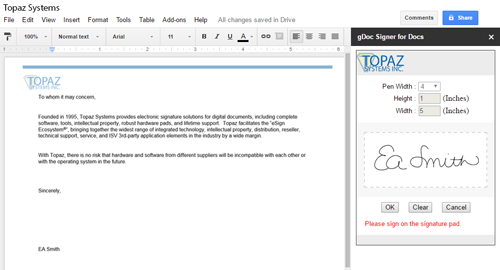 gDoc Signer Google Add-On for Topaz Electronic Signature